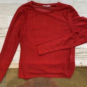 Zara Trafaluc Mesh Red Long Sleeve Top